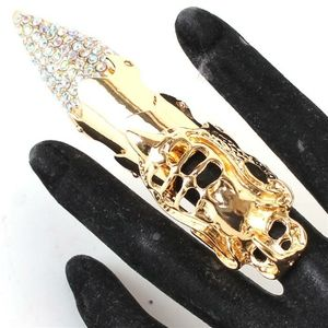 Gold Metal Crystal Warrior Claw Finger Nail Ring